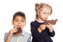 Joyful kids with chocolate Stock Photo