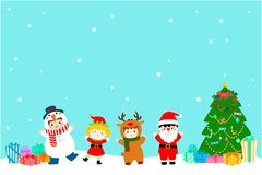 Joyful kids with Christmas costumes background .  Royalty Free Stock Photography