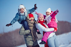 Joyful kids and parents Royalty Free Stock Image
