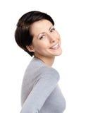 Joyful kvinna för Smiley Arkivbilder