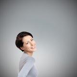 Joyful kvinna för Smiley Arkivbild