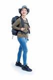 Joyful lady hiker Royalty Free Stock Photos