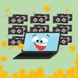 Joyful laptop mining bitcoin.  Mining farm. Royalty Free Stock Image