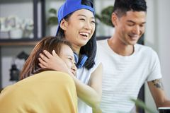 Joyful laughing young people stock images