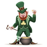 Joyful  leprechaun with a cauldron Royalty Free Stock Images