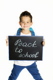 Joyful little boy with backpack ready for school Stock Images