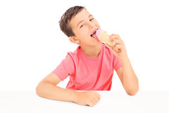 Joyful little boy eating an ice cream Royalty Free Stock Image