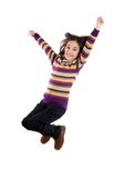 Joyful little girl jumping Stock Image