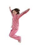 Joyful little girl jumping Royalty Free Stock Photos