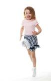 Joyful little girl jumps. Royalty Free Stock Photos