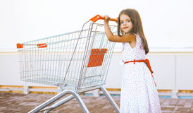 Joyful little girl with shopping cart Royalty Free Stock Images