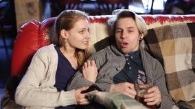 Joyful loving couple spending leisure in cafe Stock Photo