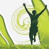 Joyful male silhouette på den gröna bakgrunden vektor illustrationer