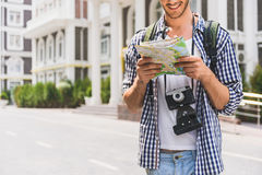 Joyful male tourist looking for location Royalty Free Stock Photography