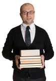 Joyful man with books Stock Image