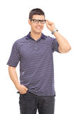 Joyful man with glasses posing Royalty Free Stock Photo