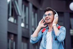 Joyful man listening to music Royalty Free Stock Photography