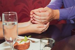 Joyful man making proposal to his future wife Royalty Free Stock Images