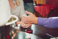 Joyful man making proposal to his future wife Stock Photos