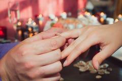 Joyful man making proposal to his future wife Royalty Free Stock Photo