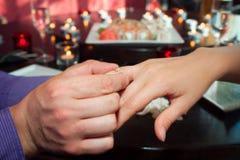 Joyful man making proposal to his future wife Stock Photography