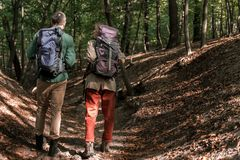 Joyful man and woman going in the nature with rucksacks royalty free stock photos