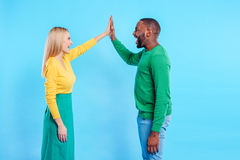 Joyful man and woman sharing their love stock images