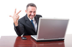 Joyful manager counting third. Or showing three fingers isolated on white background Royalty Free Stock Image