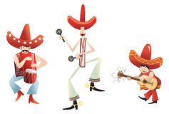 Joyful mariachi band. Funny mexican trio dancing, singing and playing Royalty Free Stock Image