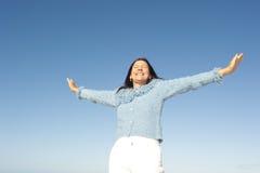 Joyful mature woman sky  Stock Images