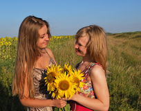 Joyful meeting of cousin sisters. Which for a long time did not see  in a  field  with sunflowers Royalty Free Stock Photos