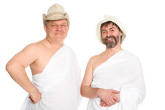Joyful men in bathing costumes, Russian bath Royalty Free Stock Photo