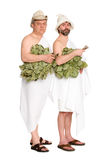 Joyful men with oak twigs in bathing costumes Stock Images