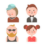 Joyful men and sad girl Royalty Free Stock Photos