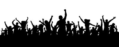Joyful mob. Crowd cheerful people silhouette. Applause crowd. Happy group friends of young people dancing at musical party, concer. T, disco. Sports fans vector illustration