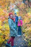 Happy family on a walk royalty free stock image