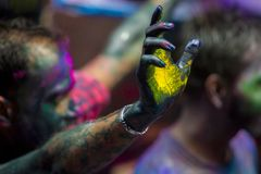A Joyful moment of the holi The Festival of Colours in Shakhari bazar, Dhaka, Bangladesh. Shankhari Bazar is located near the intersection of Islampur Road and Royalty Free Stock Photo