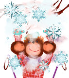 Joyful monkey and snow. Monkey-skier enjoys the snow. White background Royalty Free Stock Photography