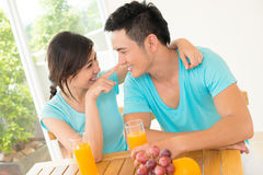 Joyful morning. Image of a young couple having fun during the morning Royalty Free Stock Image