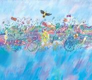 Joyful music of a bird Royalty Free Stock Images