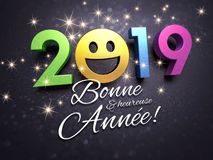 2019 New Year French greeting card for smiling. Joyful New year date 2019 with a smiling face and greetings in French language, on a glittering black card - 3D royalty free illustration