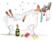 Joyful new year  deer in the bathtube. Watecolor illustration of funny caribou which relaxing in the bathtube with book and bottle of champagne Stock Image