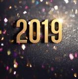 Joyful New Year 2019 Greeting card vector illustration