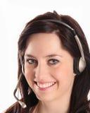 joyful operatörskvinna för hörlurar med mikrofon Arkivbild
