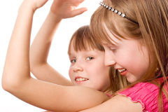 joyful over le white två för flickor Arkivbild