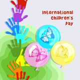 Joyful picture for decorating children`s parties. International children`s day. Composition of stylized multi-colored children`s hand prints, butterflies and Stock Illustration