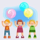 Joyful picture for decorating children`s parties. Joyful children in summer clothes. Happy girls and boys with balloons in hands on blue sky background. Peaceful Royalty Free Stock Image