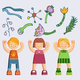 Joyful picture for decorating children`s parties. Set of isolated objects joyful children in summer clothes. Happy girls and boys, twigs, flowers on white Royalty Free Stock Photo