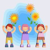 Joyful picture for decorating children`s parties. Joyful children in summer clothes. Happy girls and boys with twigs and flowers in hands on blue sky background Stock Photography