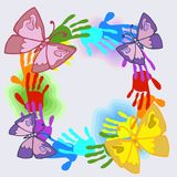 Joyful picture for decorating children`s parties. A wreath of stylized multi-colored children`s hand prints and butterflies on a blue sky background. Children Royalty Free Illustration